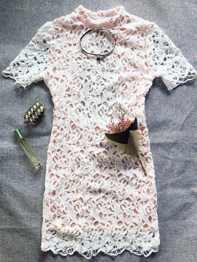 Backless Mock Neck Lace Mini Dress - WHITE M Mobile