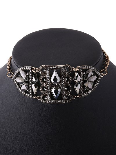 Rhinestone Hollow Out Metal Choker - GOLDEN  Mobile