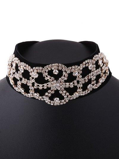 Rhinestone Flannel Fake Collar Necklace - GOLDEN  Mobile