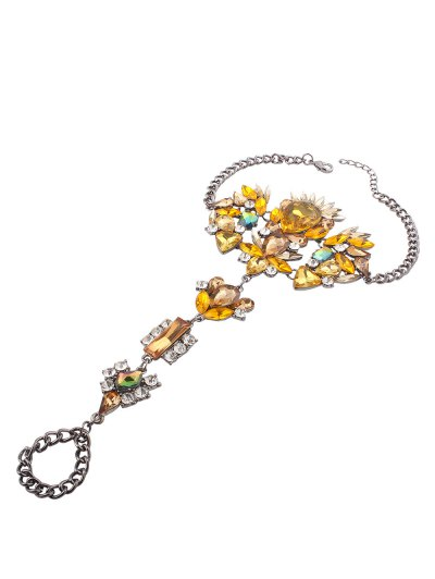 Rhinestone Statement Slave Anklet - YELLOW  Mobile