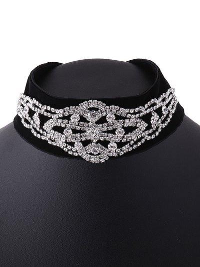 Rhinestone Velvet Fake Collar Necklace - SILVER  Mobile