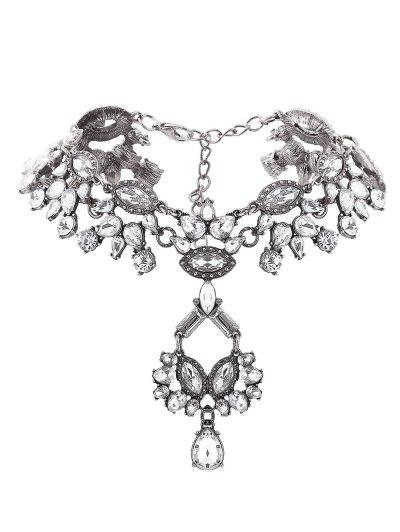 Rhinestone Pendant Statement Necklace - SILVER  Mobile