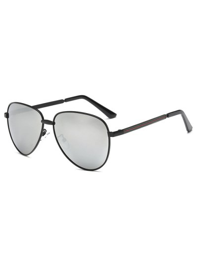 Stripy Leg Metal Mirrored Pilot Sunglasses - BLACK  Mobile