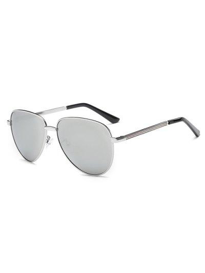 Stripy Leg Metal Mirrored Pilot Sunglasses - SILVER  Mobile
