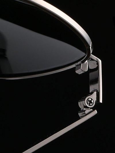 Stripy Leg Metal Pilot Sunglasses - DEEP GRAY  Mobile