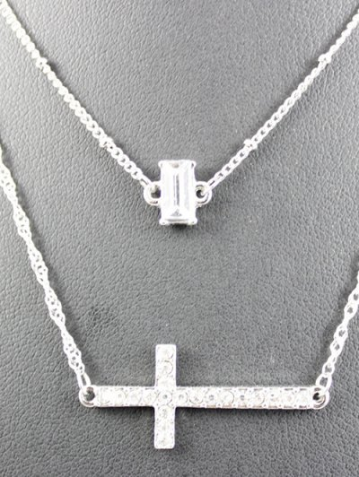 Layered Cross Grail Necklace - SILVER  Mobile