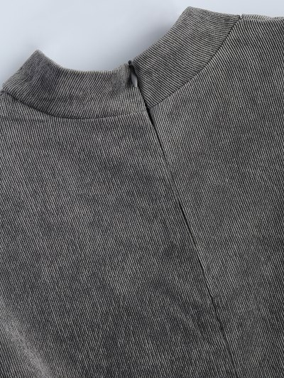 Oversized Choker Sweatshirt - GRAY L Mobile