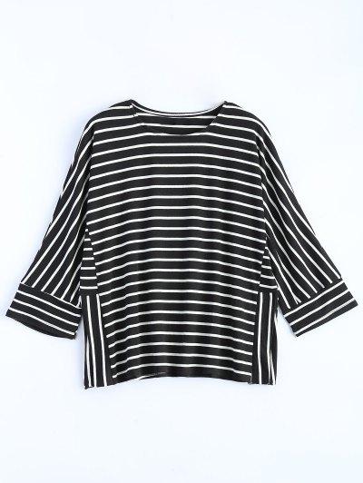 Oversized Side Slit Striped T-Shirt - BLACK XL Mobile