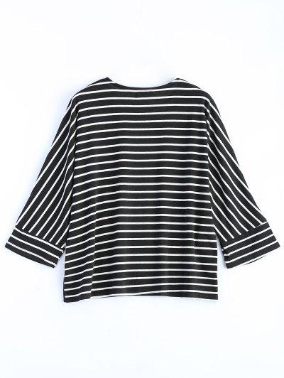 Oversized Side Slit Striped T-Shirt - BLACK L Mobile