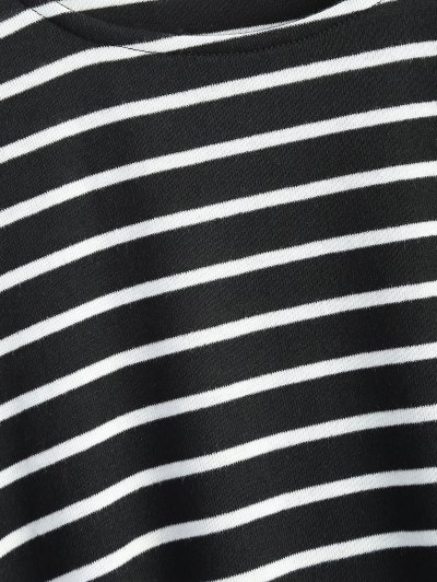 Oversized Side Slit Striped T-Shirt - BLACK M Mobile