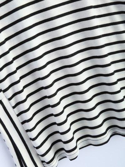 Oversized Side Slit Striped T-Shirt - WHITE XL Mobile