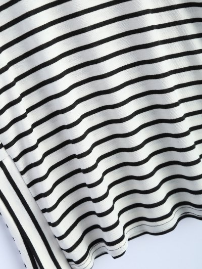 Oversized Side Slit Striped T-Shirt - WHITE M Mobile