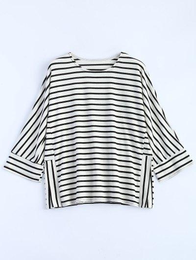Oversized Side Slit Striped T-Shirt - WHITE S Mobile
