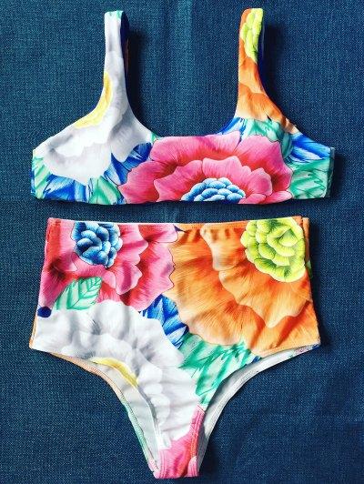 High Rise U Neck Floral Bikini - FLORAL S Mobile
