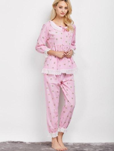 Printed Smock Top and Pants Pajama - PINK XL Mobile
