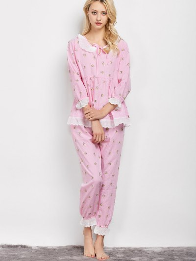 Printed Smock Top and Pants Pajama - PINK L Mobile