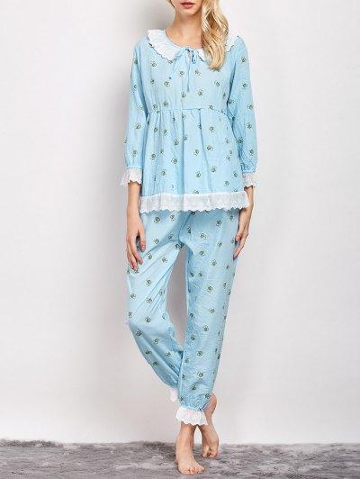 Printed Smock Top and Pants Pajama - LIGHT BLUE XL Mobile