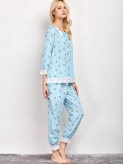 Printed Smock Top and Pants Pajama - LIGHT BLUE L Mobile