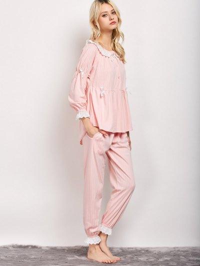 Striped Smock Top and Pants Pajama - PINK L Mobile
