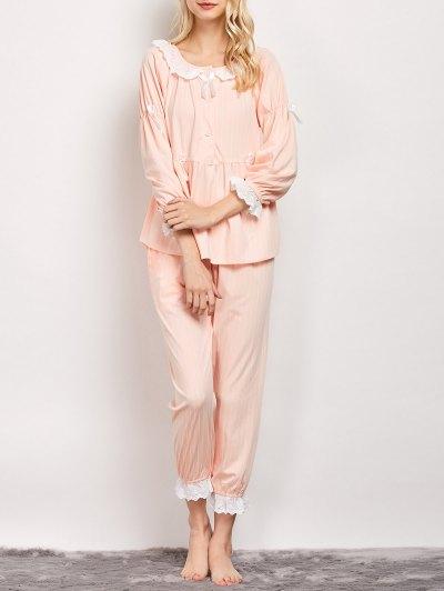 Striped Smock Top and Pants Pajama - APRICOT XL Mobile