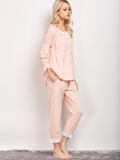 Striped Smock Top and Pants Pajama - APRICOT L Mobile