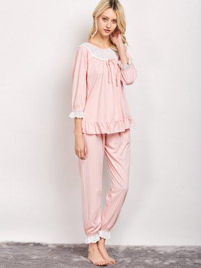 Lacework Smock Top and Pants Pajama - PINK L Mobile
