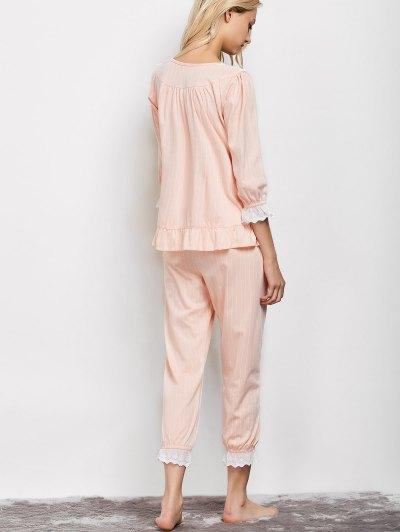 Lacework Smock Top and Pants Pajama - APRICOT XL Mobile