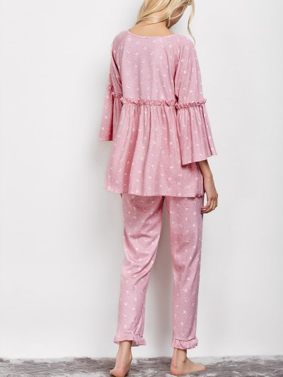 Letter Ruffles Smock Top and Pants Pajama - PINK L Mobile