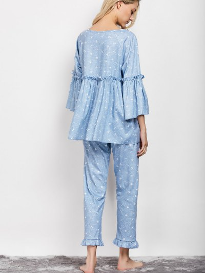 Letter Ruffles Smock Top and Pants Pajama - LIGHT BLUE XL Mobile