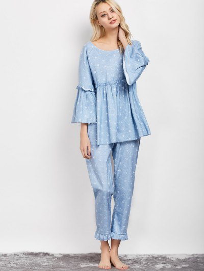 Letter Ruffles Smock Top and Pants Pajama - LIGHT BLUE L Mobile
