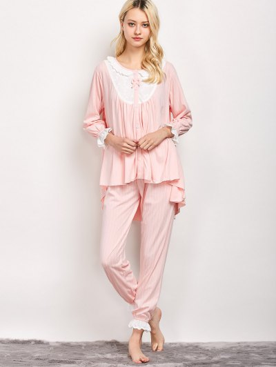 Striped Swing Top and Pants Pajama - LIGHT PINK L Mobile