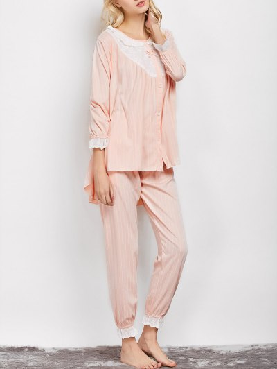Striped Swing Top and Pants Pajama - APRICOT XL Mobile