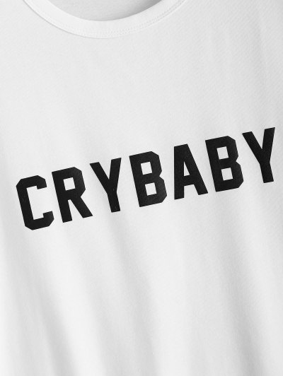 Short Sleeve Crybaby Graphic Tee - WHITE 2XL Mobile