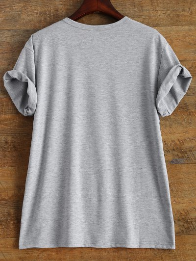 Short Sleeve Crybaby Graphic Tee - GRAY XL Mobile