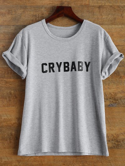 Short Sleeve Crybaby Graphic Tee - GRAY L Mobile