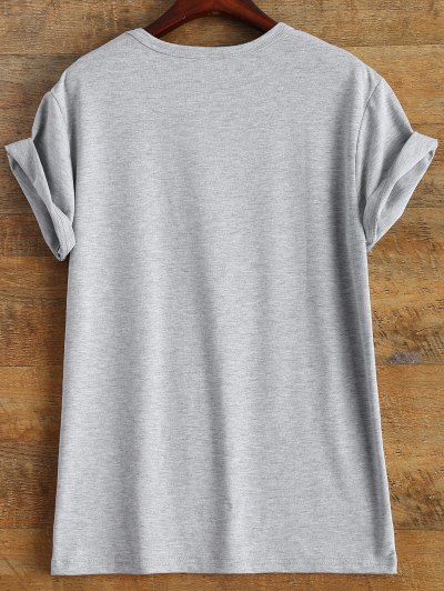 Short Sleeve Lettering Tee - GRAY S Mobile