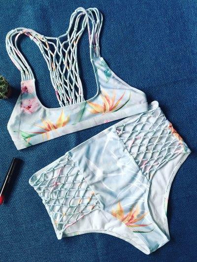 Printed Fishnet Insert High Rise Bikini - COLORMIX L Mobile
