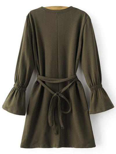 Bell Cuff Sleeve Tie Waist Dress - ARMY GREEN L Mobile