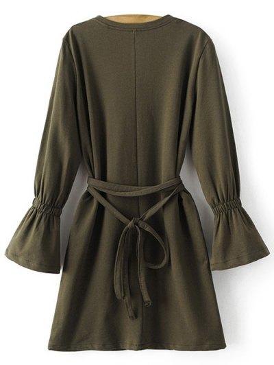 Bell Cuff Sleeve Tie Waist Dress - ARMY GREEN M Mobile