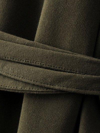 Bell Cuff Sleeve Tie Waist Dress - BLACK L Mobile