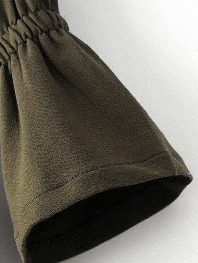 Bell Cuff Sleeve Tie Waist Dress - BLACK M Mobile
