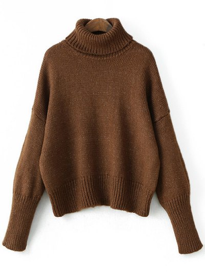 Roll Neck Oversized Jumper - COFFEE ONE SIZE Mobile