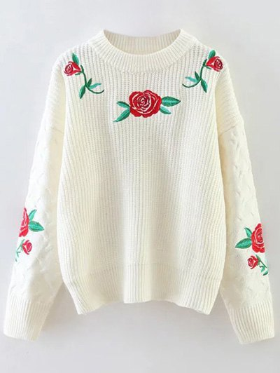 Chunky Embroidered Oversized Sweater - WHITE ONE SIZE Mobile