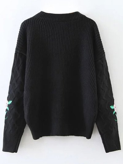 Chunky Embroidered Oversized Sweater - BLACK ONE SIZE Mobile
