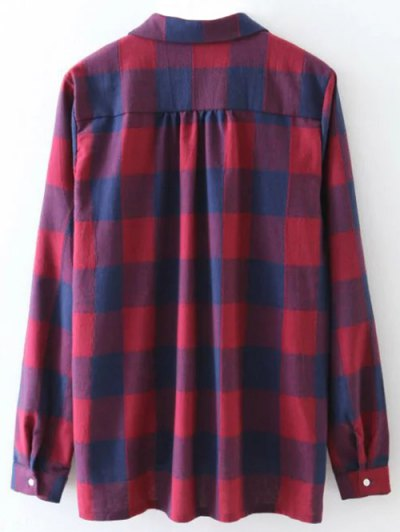 Plaid Crossover Blouse - BLUE AND RED S Mobile