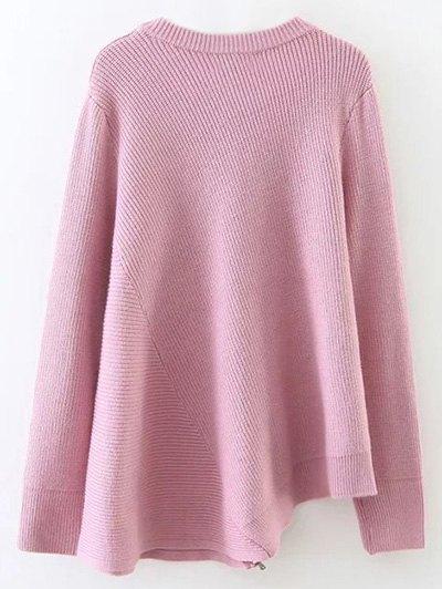 Asymmetric Zipped Hem Swing Sweater - PINK ONE SIZE Mobile