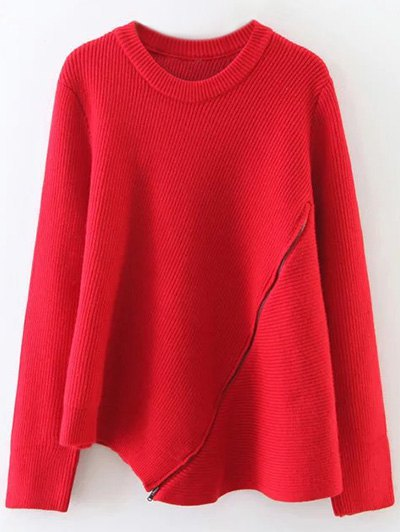 Asymmetric Zipped Hem Swing Sweater - RED ONE SIZE Mobile