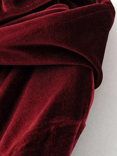 Flap Pockets Drawstring Velvet Hoodie - BURGUNDY L Mobile