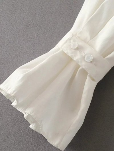 Frilled Sleeve Button Up Chiffon Blouse - WHITE M Mobile