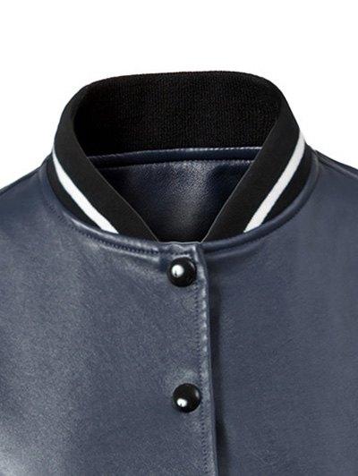 Corduroy PU Leather Baseball Jacket - BLUE AND GREEN XL Mobile